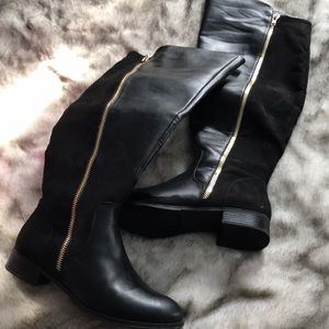 Shoedazzle New Over Knee Wide Calf Black Boots 11